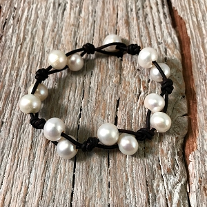 Abby Freshwater Pearl and Leather Bracelet