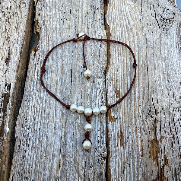 Seaside Pearls Kimberly Freshwater Pearl and Leather Necklace