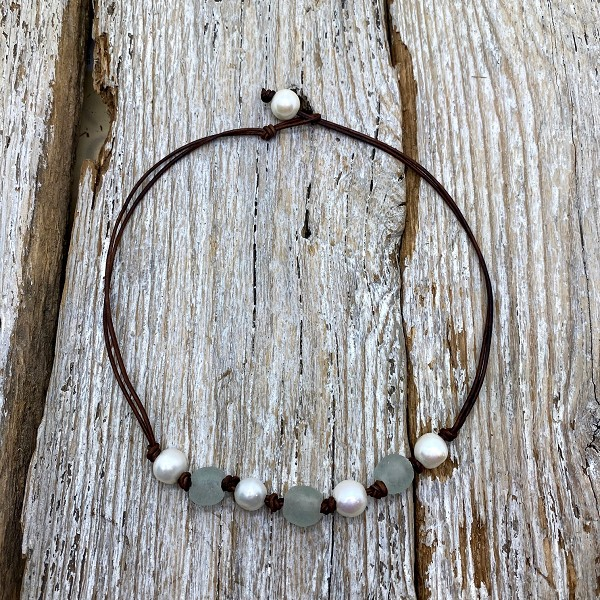 Seaside Pearls Bethany Freshwater Pearl, Sea Glass and Leather Necklace