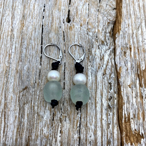 Seaside Pearls Bree Seafoam Sea Glass, Freshwater Pearl and Leather Earrings