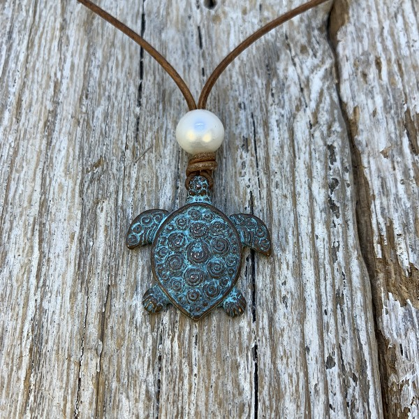 Seaside Pearls Harmony Patina Sea Turtle and Freshwater Pearl Necklace