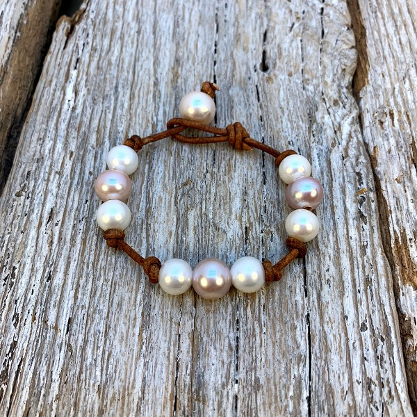 Seaside Pearls Phobe Freshwater Pearl and Leather Bracelet