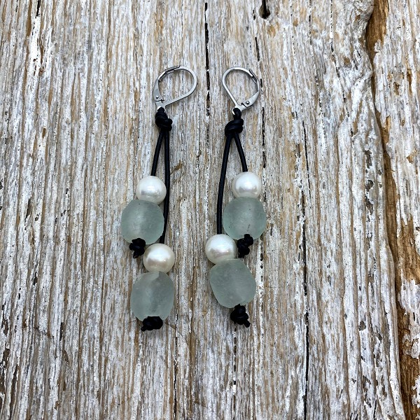 Seaside Pearls Wendy Seafoam Sea Glass, Freshwater Pearl and Leather Earrings